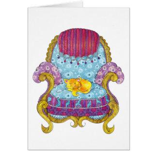 Carte Chat d'or dans la chaise