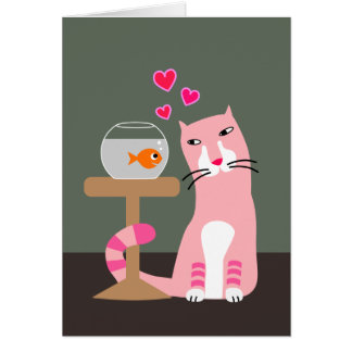 Carte Chat et poisson rouge Valentine