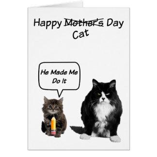 Carte Chat grincheux/cartes mignonnes du jour de mère de