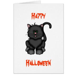 Carte Chat noir chanceux de Halloween