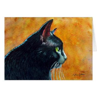 Carte Chat noir dans le profil, chatouillements