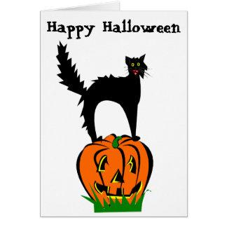 Carte Chat noir et citrouille drôles de Halloween