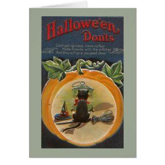 Carte Chat noir mignon de Halloween