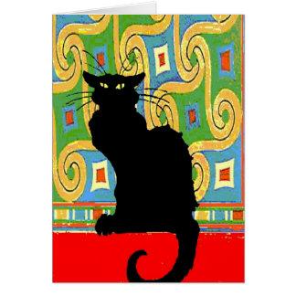 Carte Chat noir sur le papier peint abstrait