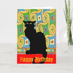 Carte Chat noir sur le papier peint abstrait, joyeux