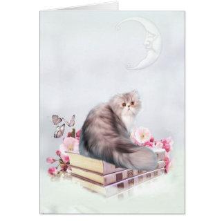 Carte Chat persan avec des livres