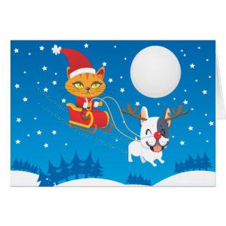 Carte Chat Sleigh de Père Noël
