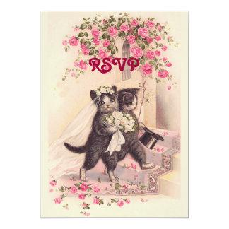 Chats de mariage de RSVP dans l'invitation rose