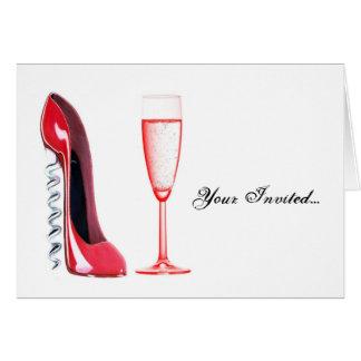Carte Chaussure de tire-bouchon et verre de Champagne