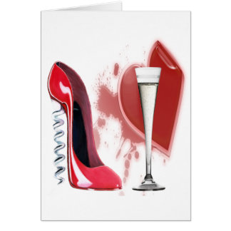 Carte Chaussure stylet rouge, Champagne et coeur de
