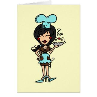 Carte Chef de pâtisserie féminin - bande dessinée drôle