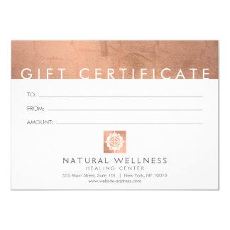 Carte Chèque-cadeau rose d'or de grille de logo floral