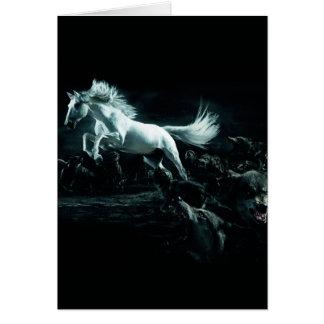 Carte Cheval blanc et l'attaque des loups sauvages
