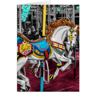 Carte Cheval coloré de carrousel au carnaval