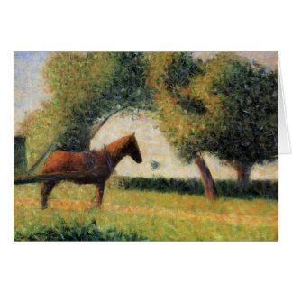 Carte Cheval et chariot par Georges Seurat