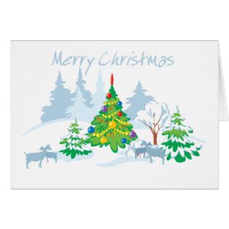 Carte Chèvres sereines de Joyeux Noël