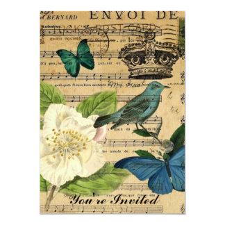 Carte chic minable de rose de notes de musique d'oiseau