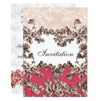 Carte Chic rougissent le mariage floral vintage rose