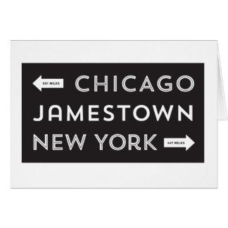 Carte Chicago-Jamestown-Nouvel York