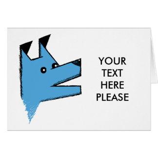 Carte Chien bleu frais d'origami