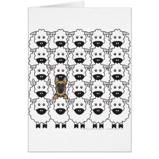 Carte Chien de berger allemand chez les moutons