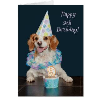 Carte Chien mignon célébrant un 9ème anniversaire !