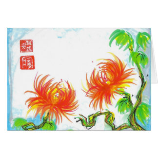 Carte chinoise orange de chrysanthèmes