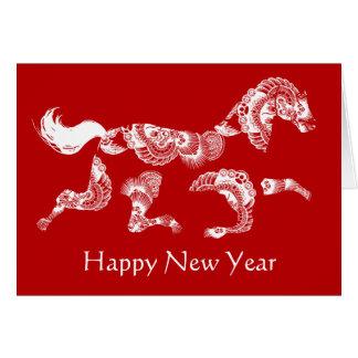 Carte chinoise rouge de nouvelle année de zodiaque