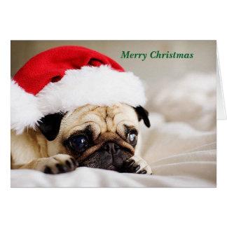 Carte Chiot mignon de carlin de Joyeux Noël