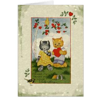 Carte Choisissez mes chats vintages de Valentine de
