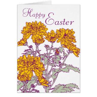 Carte chrysanthèmes de Pâques heureuse de schéma