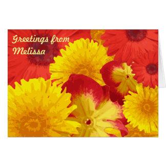 Carte Chrysanthèmes jaunes de marguerites rouges