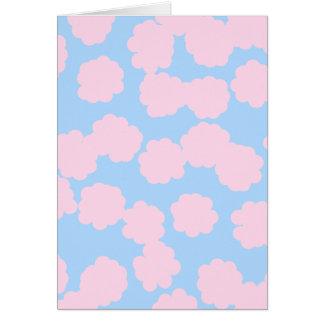 Carte Ciel bleu avec le modèle rose de nuages