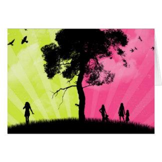 Carte Ciel vert et rose d'art moderne - avec l'arbre