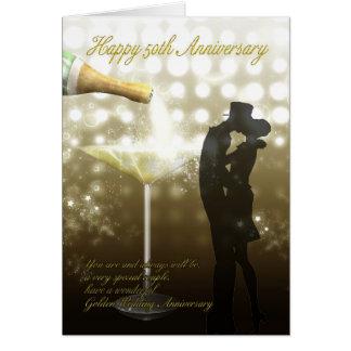 Carte cinquantième anniversaire - Champagne
