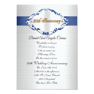 Carte cinquantième Bleu et blanc d'invitation