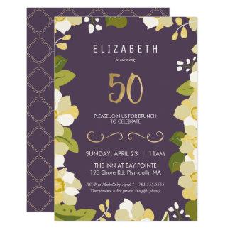 Carte cinquantième Ciquantième floral de personnaliser