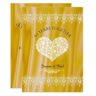 Carte cinquantième Diamants d'or de célébration
