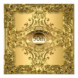 Carte cinquantième Luxe de fête d'anniversaire d'or