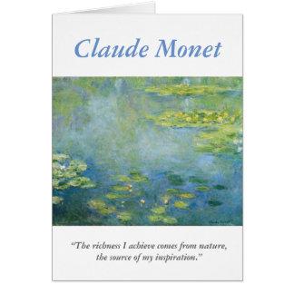 Carte Citation créative d'artiste de Monet avec des