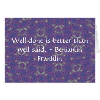 Carte Citation de Benjamin Franklin avec la conception