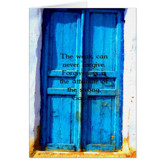 Carte Citation de sagesse de Gandhi avec la porte