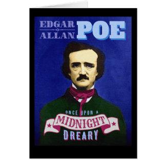 Carte Citation et portrait d'Edgar Allan Poe Raven