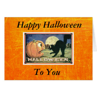 Carte Citrouille heureux vintage de Halloween avec le