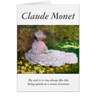 Carte Claude Monet lisant la citation d'artiste de