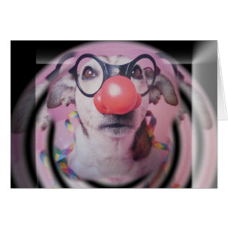 Carte Clown fou de joyeux anniversaire de Jack Russell