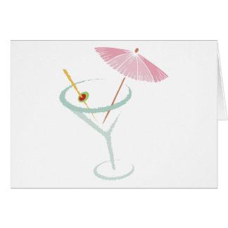 Carte Cocktail de Martini et olive et parapluie