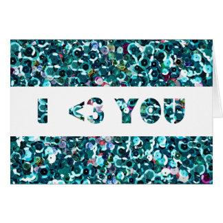 Carte Coeur bleu des paillettes I que vous aimez