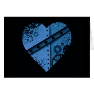 Carte Coeur bleu-foncé romantique de steampunk