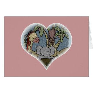 Carte Coeur de bébé de jungle